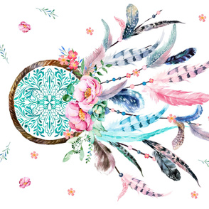 "36""x56""Dream Big Little One - Pink and Aqua Dreamcatcher / Version 2"
