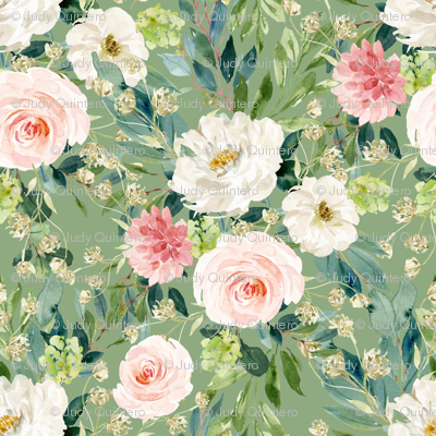 "4"" Pink and White Garden - Green"