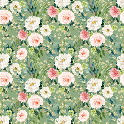 "4"" Pink and White Garden - Green fabric by shopcabin on Spoonflower - custom fabric"