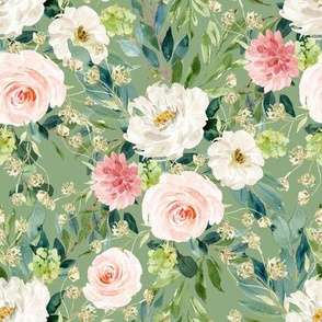 """8"""" Pink and White Garden - Green"""
