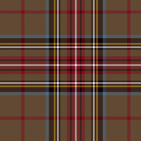 "King George VI / Green Stewart tartan, red stripe, 6"" weathered fabric by weavingmajor on Spoonflower - custom fabric"