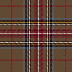 "King George VI / Green Stewart tartan, red stripe, 6"" weathered"
