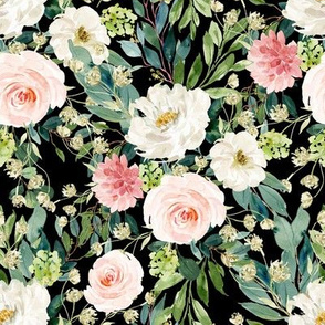 "8"" Pink and White Garden - Black"