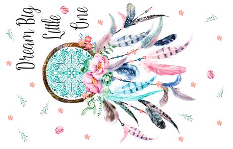 "36""x56"" Dream Big Little One Pink and Aqua Dreamcatcher fabric by shopcabin on Spoonflower - custom fabric"