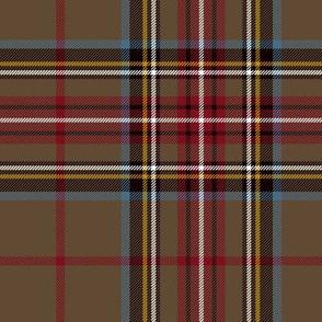"King George VI / Green Stewart tartan, red stripe, 7"" weathered"