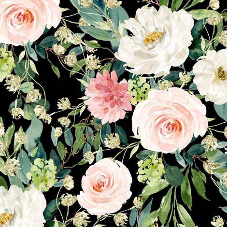 """10.5"""" Pink and White Garden - Black fabric by shopcabin on Spoonflower - custom fabric"""