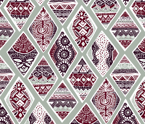 Sage  Winter Diamonds in Garnet Red, Rasin Purple and Green Balsam - Big fabric by tigatiga on Spoonflower - custom fabric