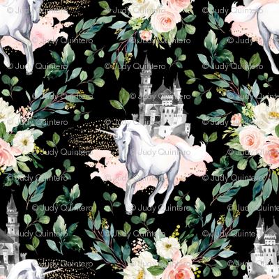 "4"" Unicorn and Castle Garden - Black"