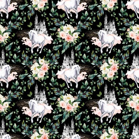 "4"" Unicorn and Castle Garden - Black fabric by shopcabin on Spoonflower - custom fabric"