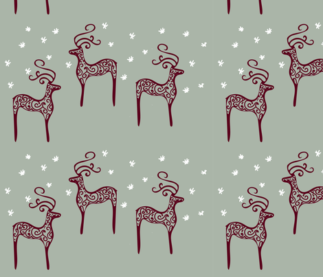reindeers on a starry night fabric by samantha_woodford on Spoonflower - custom fabric