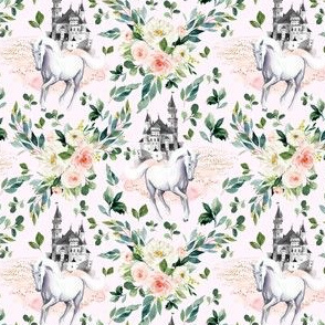"4"" Unicorn and Castle Garden - Light Pink"