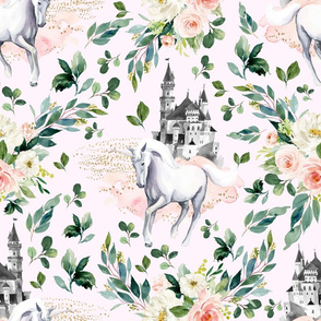 "18"" Unicorn and Castle Garden - Light Pink"