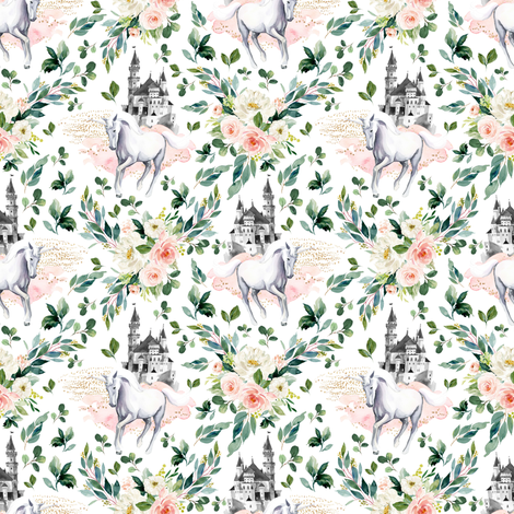 """4"""" Unicorn and Castle Garden - White fabric by shopcabin on Spoonflower - custom fabric"""