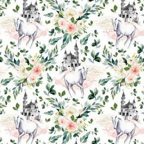 "4"" Unicorn and Castle Garden - White"