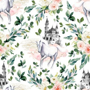 "8"" Unicorn and Castle Garden - White"