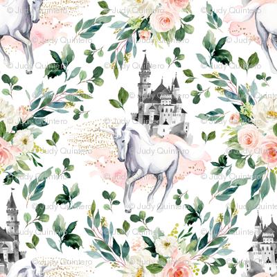 """10.5"""" Unicorn and Castle Garden - White"""