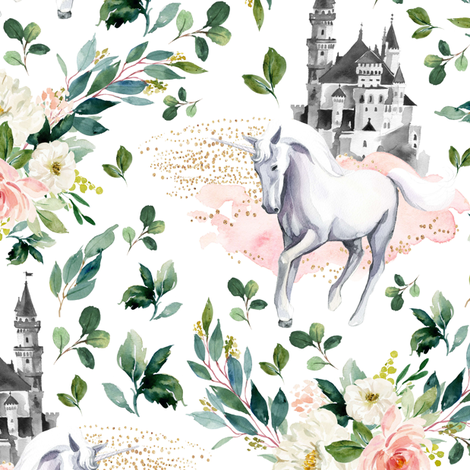 "10.5"" Unicorn and Castle Garden - White fabric by shopcabin on Spoonflower - custom fabric"