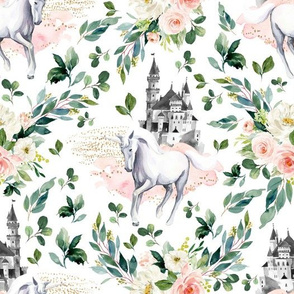 "10.5"" Unicorn and Castle Garden - White"