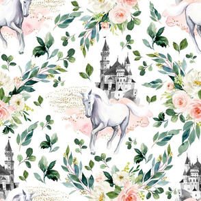 "18"" Unicorn and Castle Garden - White"