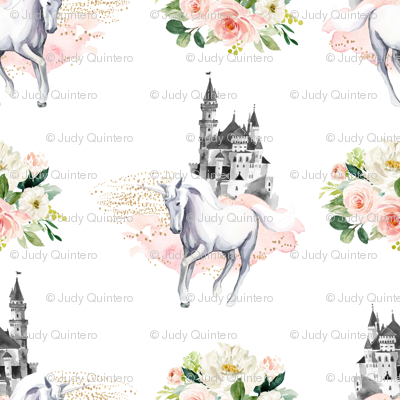 """4"""" Unicorn and Castle Garden - Pink & White Flowers"""