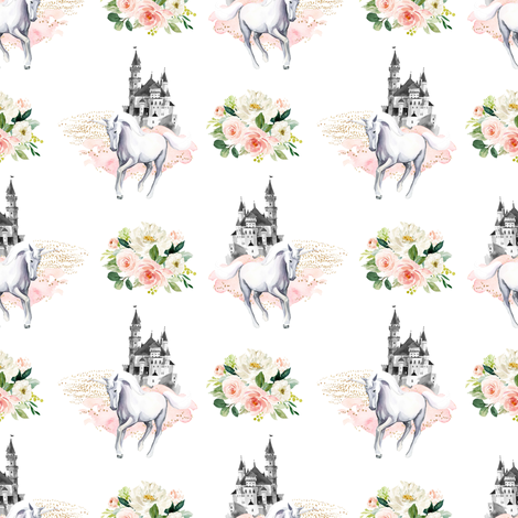 """4"""" Unicorn and Castle Garden - Pink & White Flowers fabric by shopcabin on Spoonflower - custom fabric"""