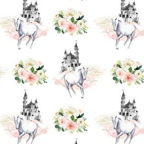 "4"" Unicorn and Castle Garden - Pink & White Flowers"