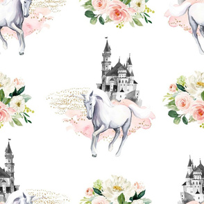"18"" Unicorn and Castle Garden - Pink & White Flowers"