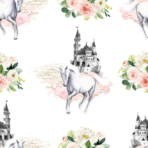 "36"" Unicorn and Castle Garden - Pink & White Flowers"
