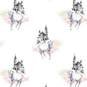 "4"" Unicorn and Castle Garden - Pink & White"