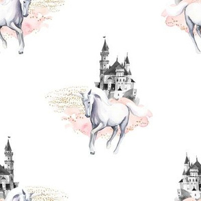 "8"" Unicorn and Castle Garden - Pink & White"