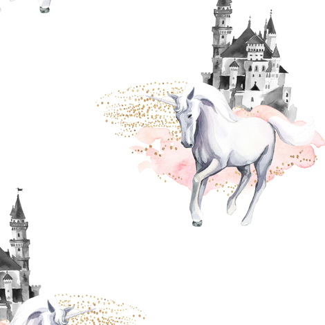 "10.5"" Unicorn and Castle Garden - Pink & White fabric by shopcabin on Spoonflower - custom fabric"