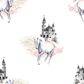"18"" Unicorn and Castle Garden - Pink & White"