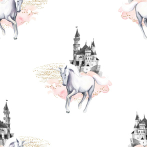 "36"" Unicorn and Castle Garden - Pink & White"