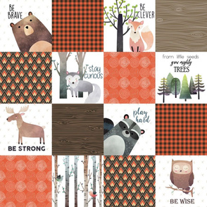 "4.5"" BLOCKS- Woodland Critters Patchwork Quilt - Bear Moose Fox Raccoon Wolf, Brown & Orange Design GingerLous"