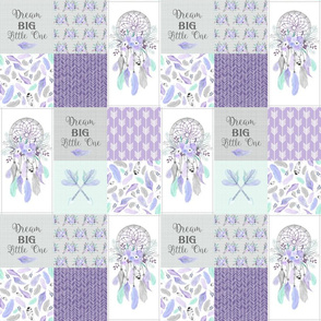 """3"""" BLOCKS Dream Big Dream Catchers Patchwork Quilt Top – Wholecloth for Girls Purple Lavender Grey Feathers Nursery Blanket Baby Bedding"""