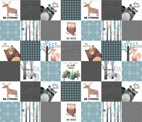 Woodland Critters Patchwork Quilt - Bear Moose Fox Raccoon Wolf, Gray & Blue Design GingerLous fabric by gingerlous on Spoonflower - custom fabric