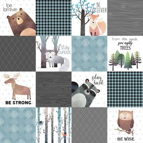 Woodland Critters Patchwork Quilt - Bear Moose Fox Raccoon Wolf, Gray & Blue Design GingerLous