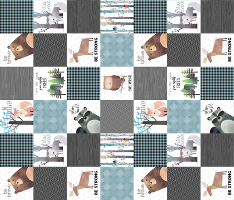 Woodland Critters Patchwork Quilt (rotated) - Bear Moose Fox Raccoon Wolf, Gray & Blue Design GingerLous fabric by gingerlous on Spoonflower - custom fabric