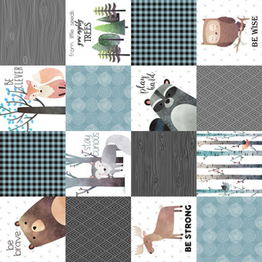 Woodland Critters Patchwork Quilt (rotated) - Bear Moose Fox Raccoon Wolf, Gray & Blue Design GingerLous