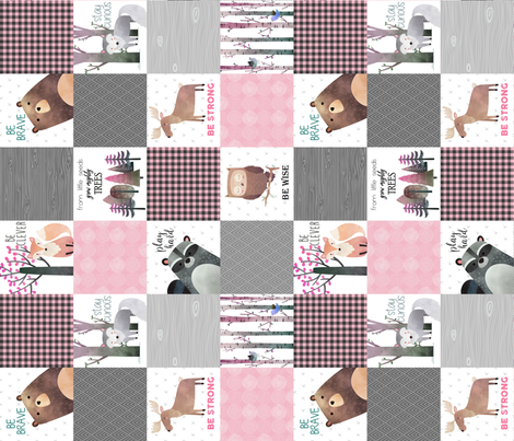 Woodland Critters Patchwork Quilt - Bear Moose Fox Raccoon Wolf, Gray & Pink Design ROTATED GingerLous fabric by gingerlous on Spoonflower - custom fabric
