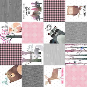 Woodland Critters Patchwork Quilt - Bear Moose Fox Raccoon Wolf, Gray & Pink Design ROTATED GingerLous