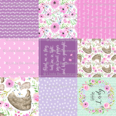 """3"""" BLOCKS- Little Lady Patchwork Quilt (rotated) - Woodland Bear + Bunny Floral Pink + Lavender Wholecloth Best Friends 2 Coordinate for Girls GingerLous"""