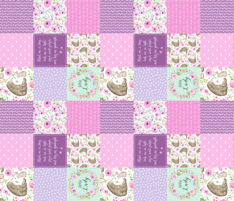 """3"""" BLOCKS- Little Lady Patchwork Quilt (rotated) - Woodland Bear + Bunny Floral Pink + Lavender Wholecloth Best Friends 2 Coordinate for Girls GingerLous fabric by gingerlous on Spoonflower - custom fabric"""