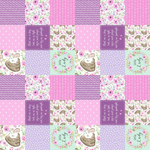 "3"" BLOCKS- Little Lady Patchwork Quilt (rotated) - Woodland Bear + Bunny Floral Pink + Lavender Wholecloth Best Friends 2 Coordinate for Girls GingerLous"