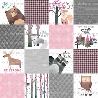Woodland Critters Patchwork Quilt - Bear Moose Fox Raccoon Wolf, Grey & Pink Design GingerLous