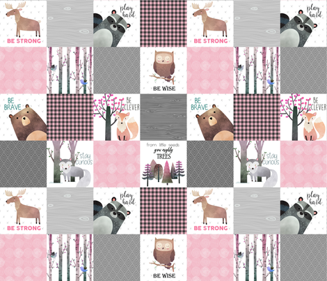 Woodland Critters Patchwork Quilt - Bear Moose Fox Raccoon Wolf, Grey & Pink Design GingerLous fabric by gingerlous on Spoonflower - custom fabric