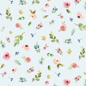 Woodland Flowers (blue) - Pink Peach Blue Floral