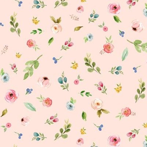 Woodland Flowers (baby pink) - Pink Peach Blue Floral