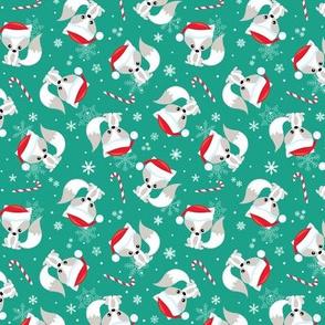 SMALLER Santa Fox – Christmas Red Santa Hat, Candy Canes + Snowflakes - Arcadia Green