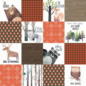 Woodland Critters Patchwork Quilt - Bear Moose Fox Raccoon Wolf, Brown & Orange Design GingerLous
